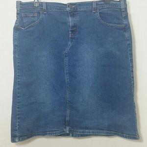 Levi's jean stretch midi skirt blue